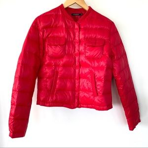 Feather filled cropped fall puffer jacket
